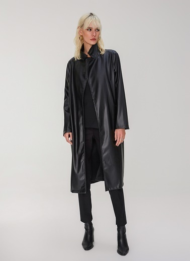 People By Fabrika Kuşaklı Suni Deri Ceket Siyah